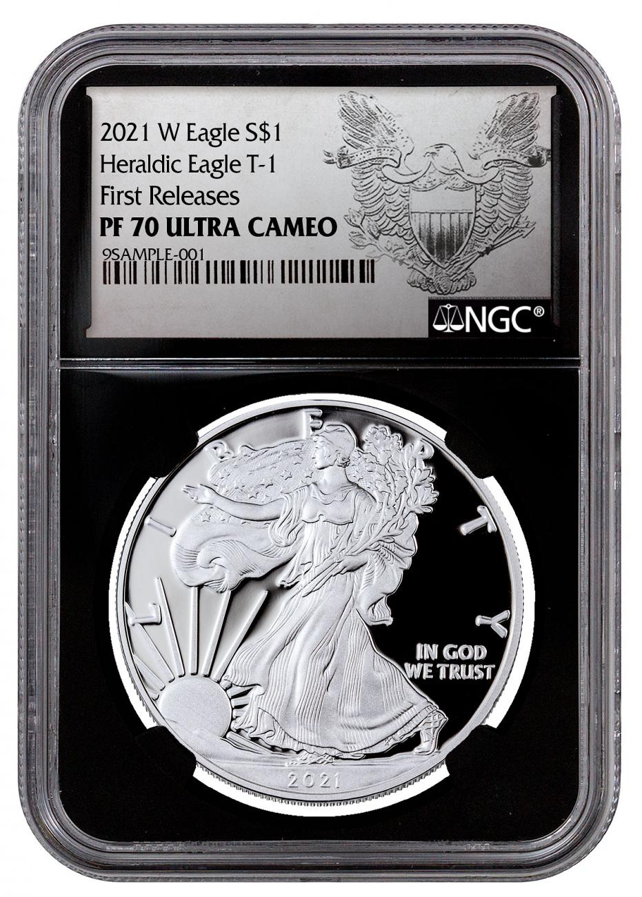 2021-W Proof American Silver Eagle NGC PF70 UC FR Black Core Holder Exclusive Heraldic Eagle Label