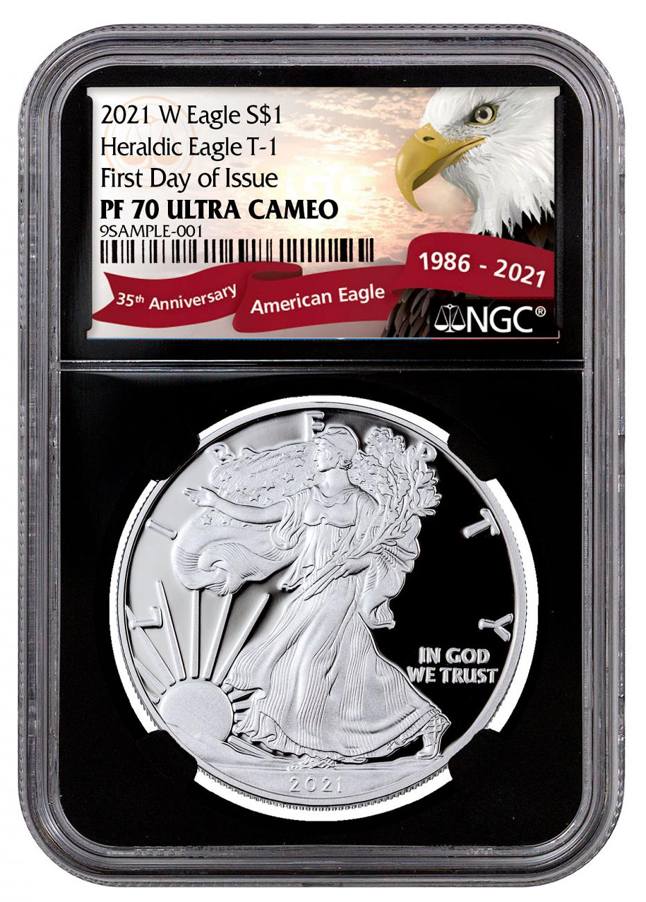 2021-W Proof American Silver Eagle NGC PF70 UC FDI Black Core Holder Exclusive Eagle Label