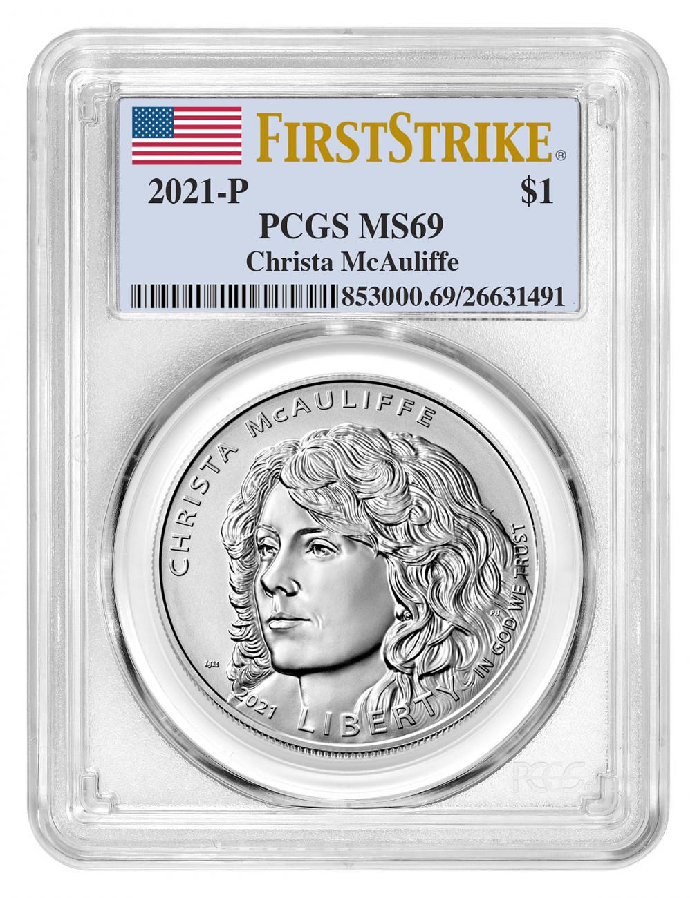 2021-P Christa McAuliffe Commemorative Uncirculated Silver Dollar Coin PCGS MS69 FS Flag Label