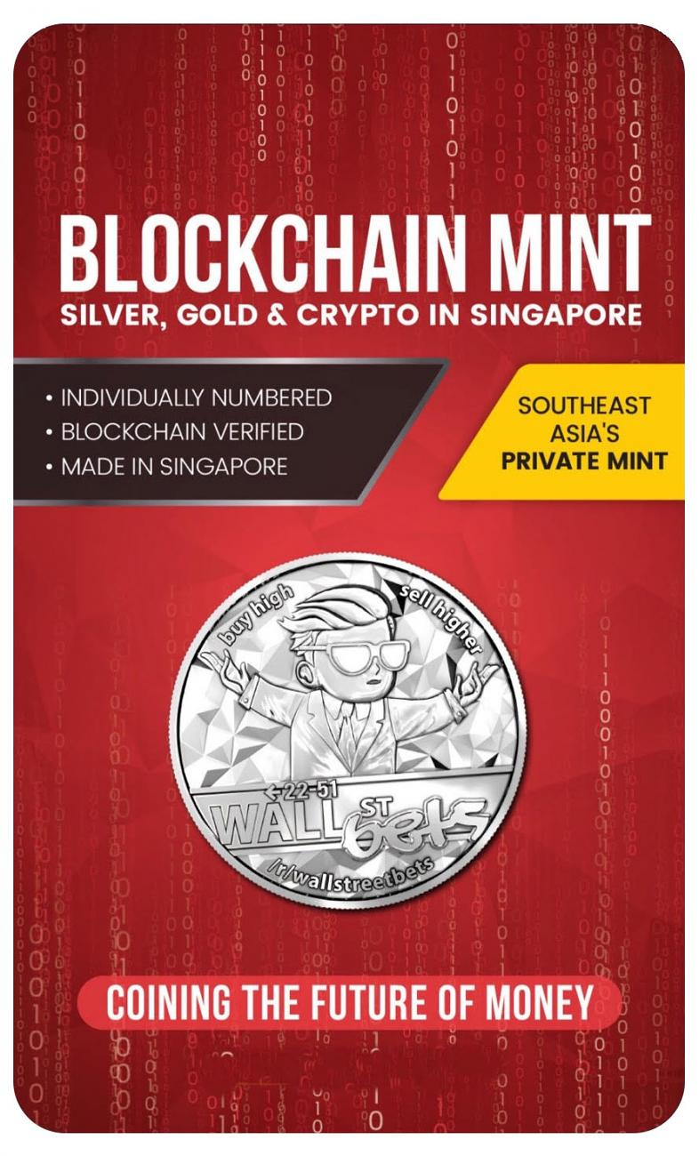 2021 Blockchain Mint WallStreetBets 1 oz Silver Round GEM Prooflike In Blister Pack