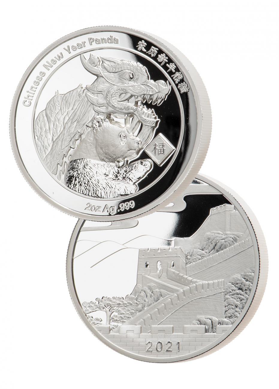 2021 China New Year Celebration Panda Ultra High Relief 2 oz Silver Proof Medal GEM Proof