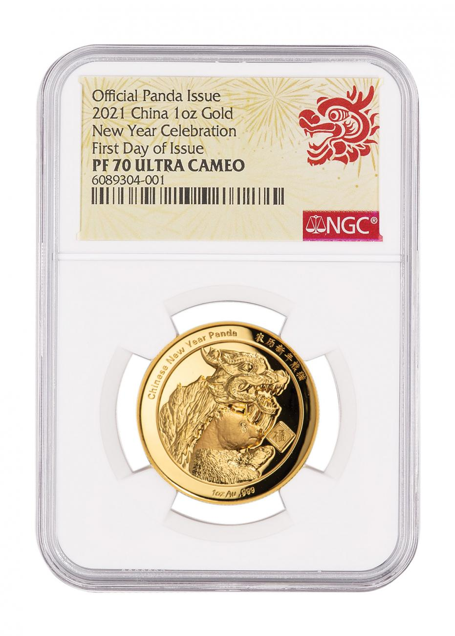 2021 China New Year Celebration Panda Ultra High Relief 1 oz Gold Proof Medal Scarce and Unique Coin Division NGC PF70 UC FDI