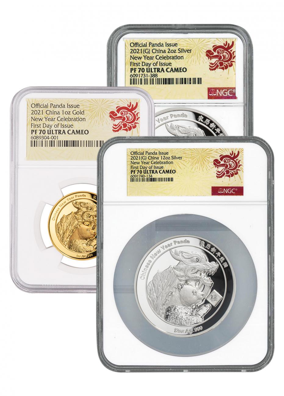 3-Piece Set - 2021 China New Year Celebration Panda Ultra High Relief 1 oz Gold + 12/2 oz Silver Proof Medal Scarce and Unique Coin Division NGC PF70 UC FDI