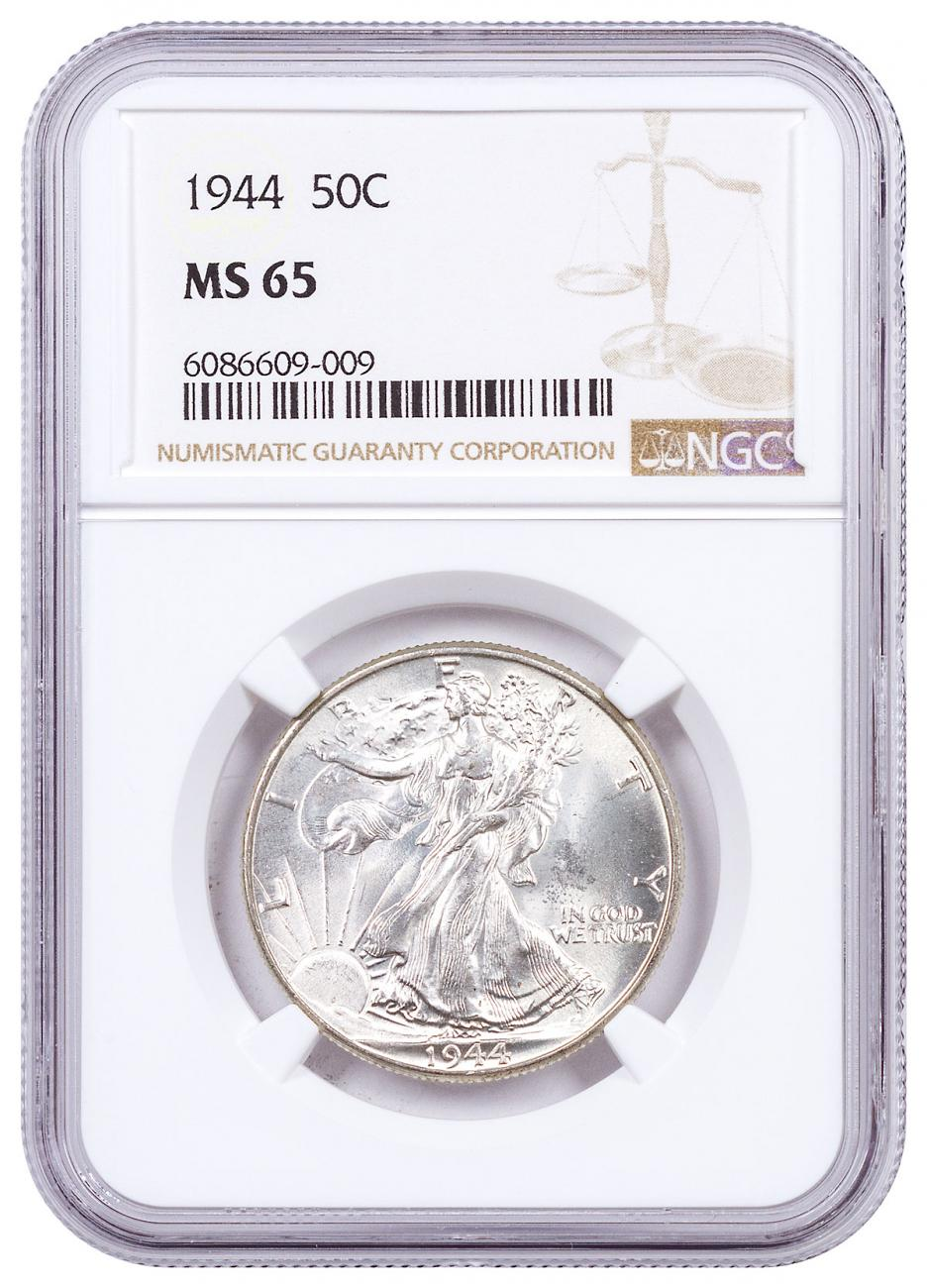 1944 Silver Walking Liberty Half Dollar NGC MS65 Brown Label