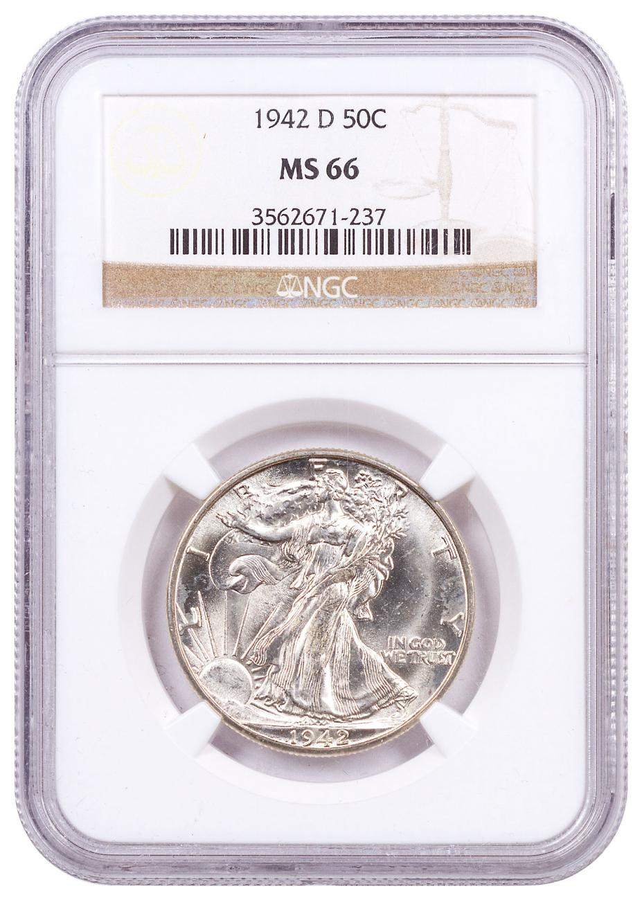 1942-D Silver Walking Liberty Half Dollar NGC MS66 Brown Label