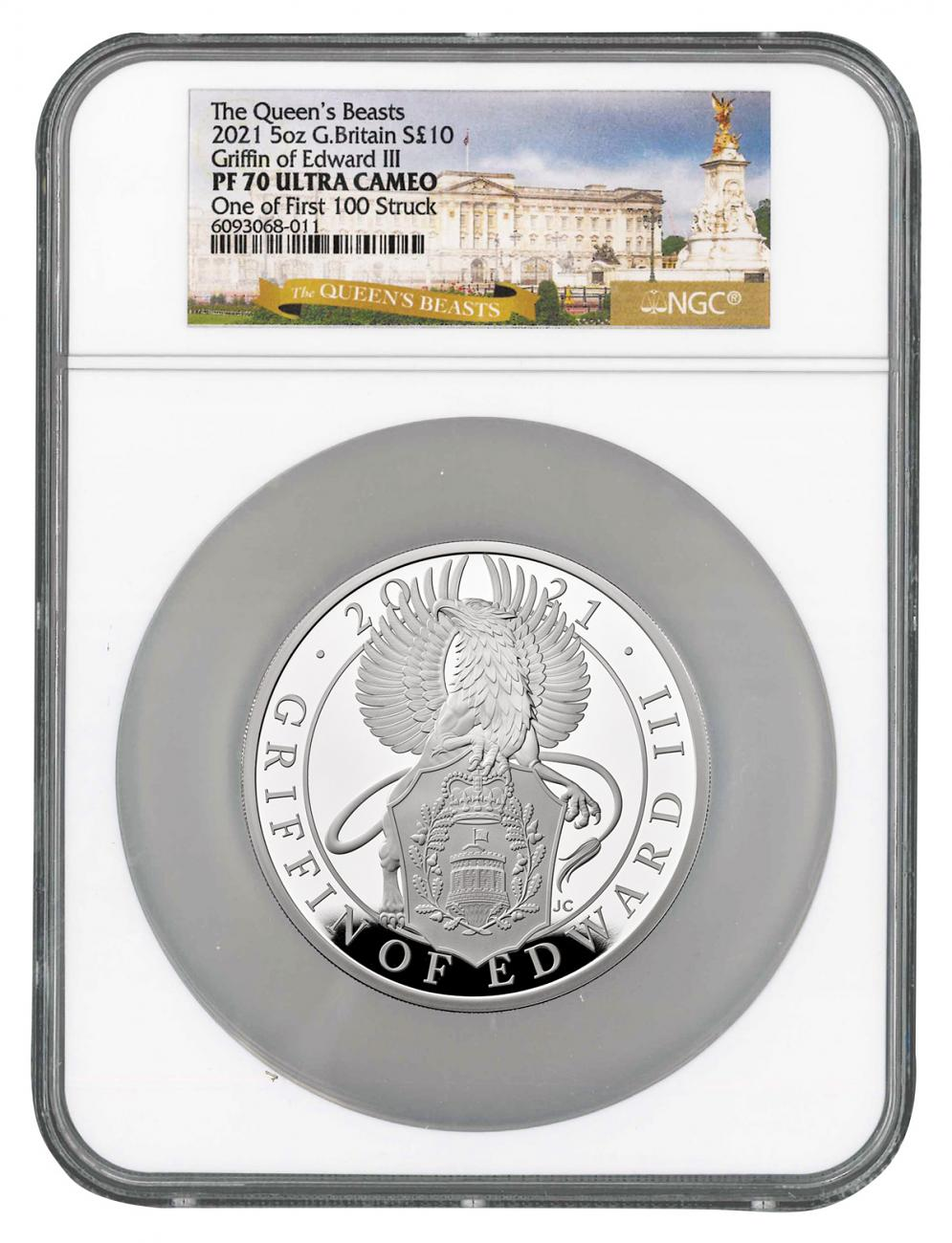 2021 Great Britain 5 oz Silver Queen's Beasts - Griffin of Edward III Proof £10 Coin Scarce and Unique Coin Division NGC PF70 UC FS Queen's Beasts Label