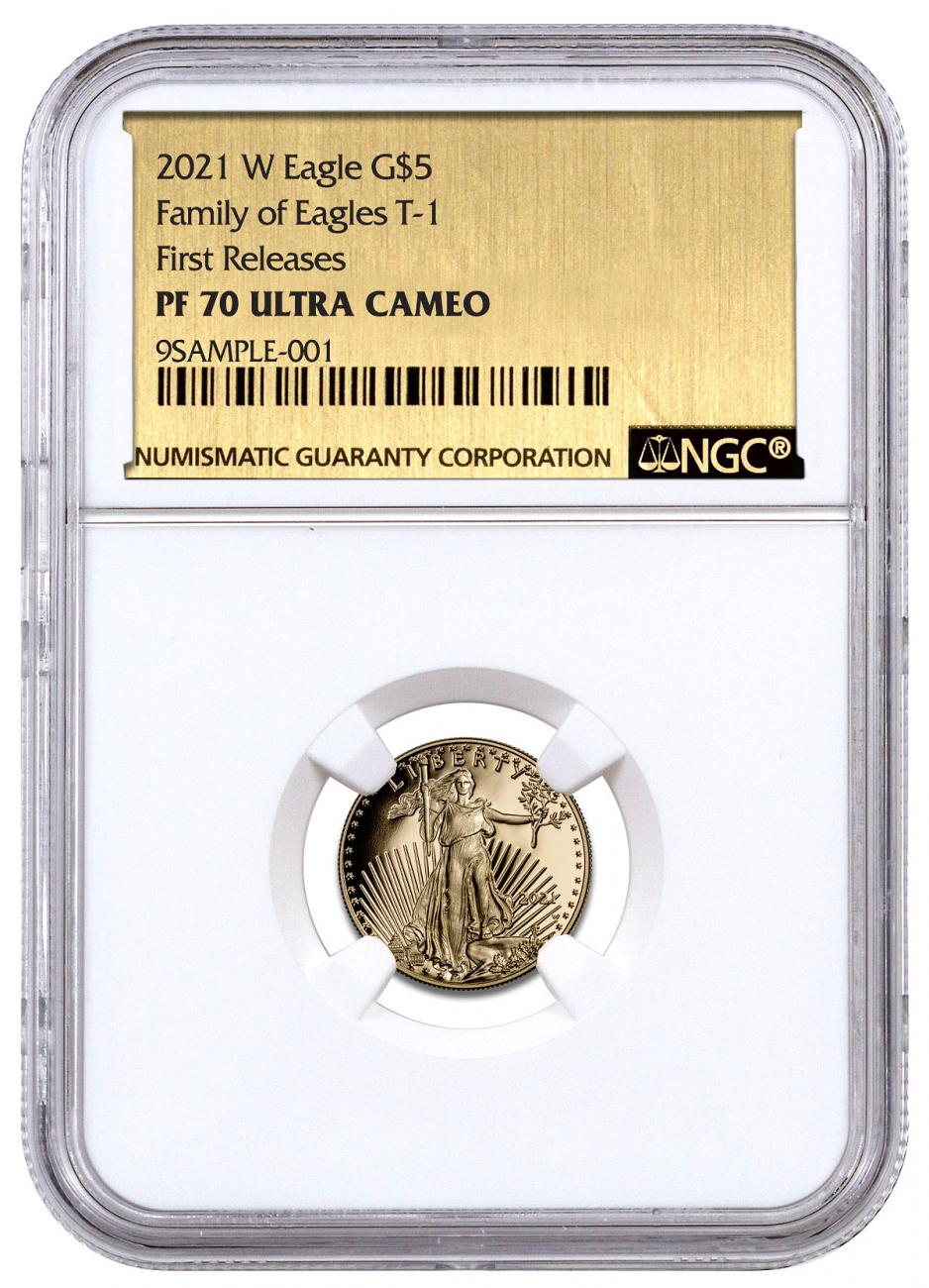 2021-W 1/10 oz Gold American Eagle Proof T-1 $5 NGC PF70 UC FR Exclusive Gold Foil Label