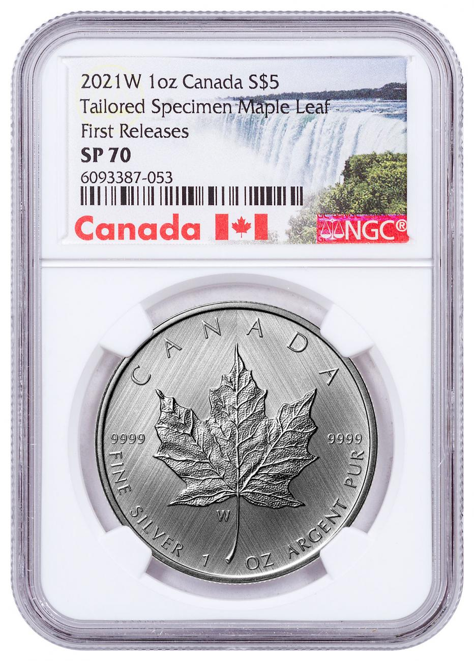 2021-W Canada 1 oz Silver Maple Leaf - Tailored Specimen $5 Coin NGC SP70 FR With Mint COA Exclusive Canada Label