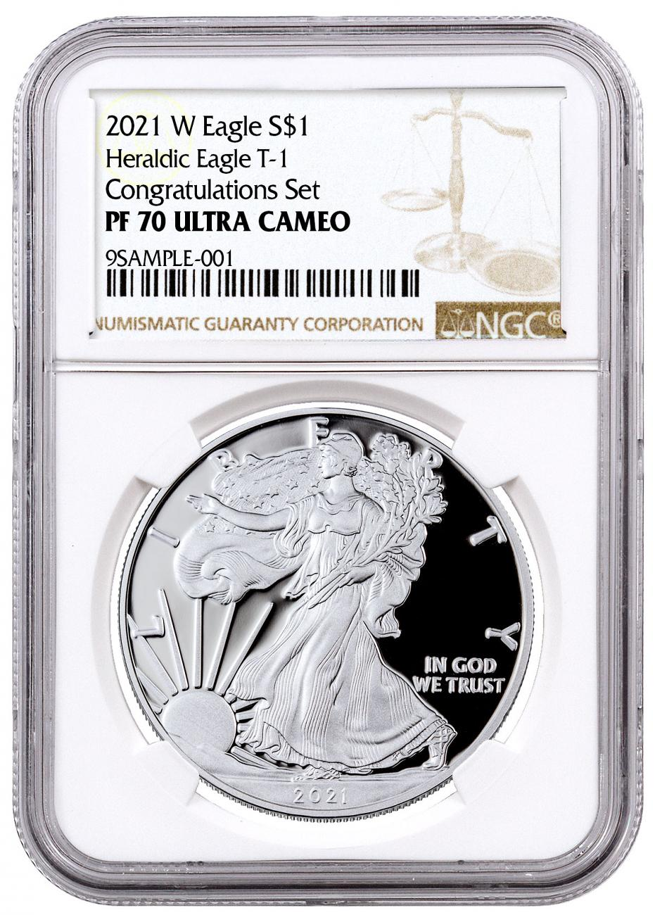 2021-W Proof American Silver Eagle T-1 Congratulations Set NGC PF70 UC Brown Label