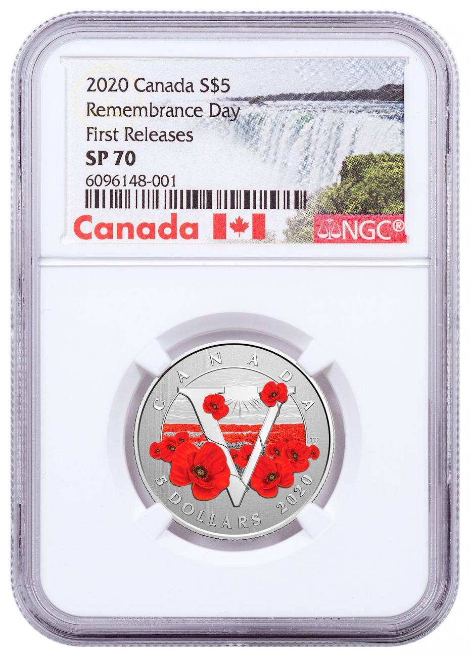 2020 Canada Silver $5 Moments to Hold- Remembrance Day Specimen Coin NGC SP70 FR Exclusive Canada Label
