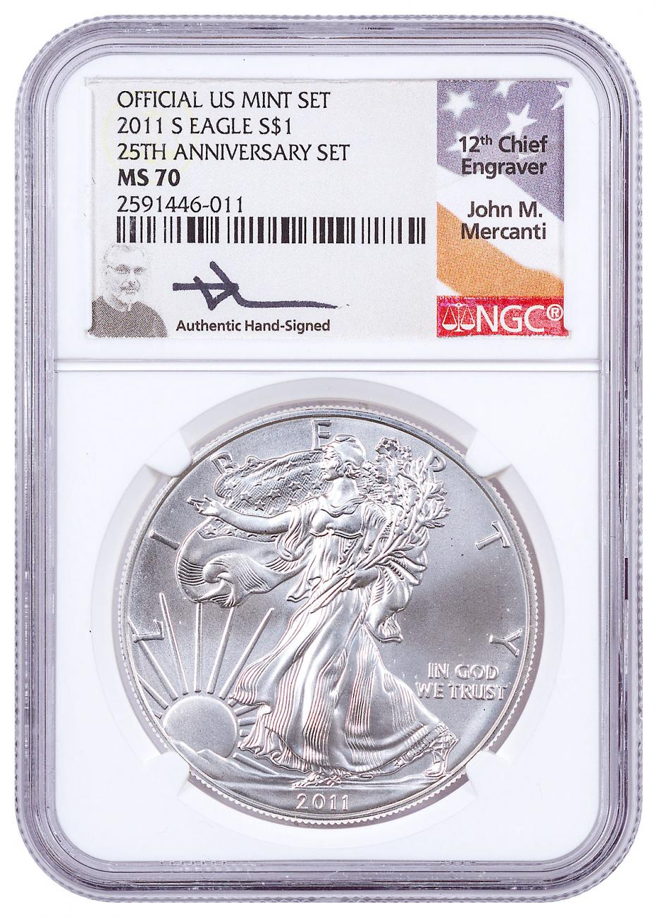 2011-S San Francisco Silver Eagle From 25th Anniversary Set NGC MS70 ER Mercanti Signed Label