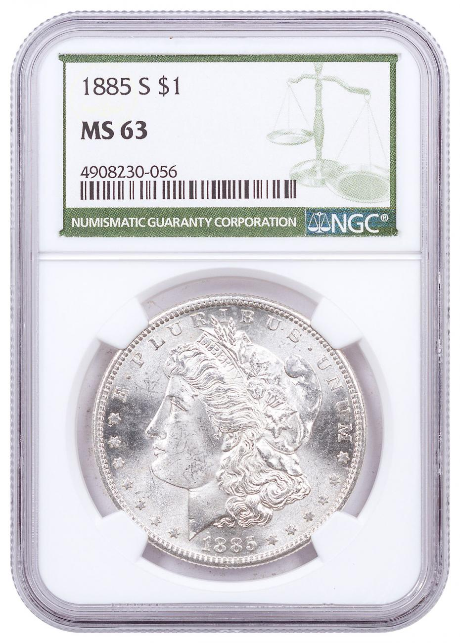 1885-S Morgan Silver Dollar NGC MS63 Green Label