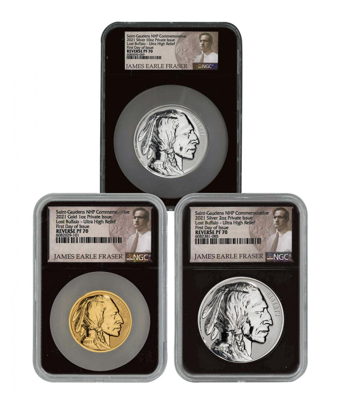 2021 Fraser Lost Buffalo 3-Medal Set Ultra High Relief Gold + Silver Reverse Proof Medals Scarce and Unique Coin Division NGC PF70 FDI Black Core Holder Fraser Label
