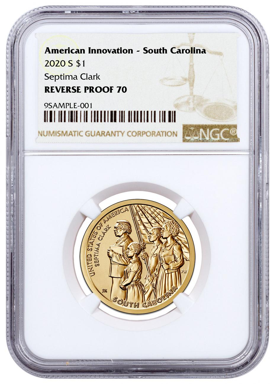 2020-S American Innovation South Carolina Dollar Reverse Proof Coin NGC Rev PF70 Brown Label