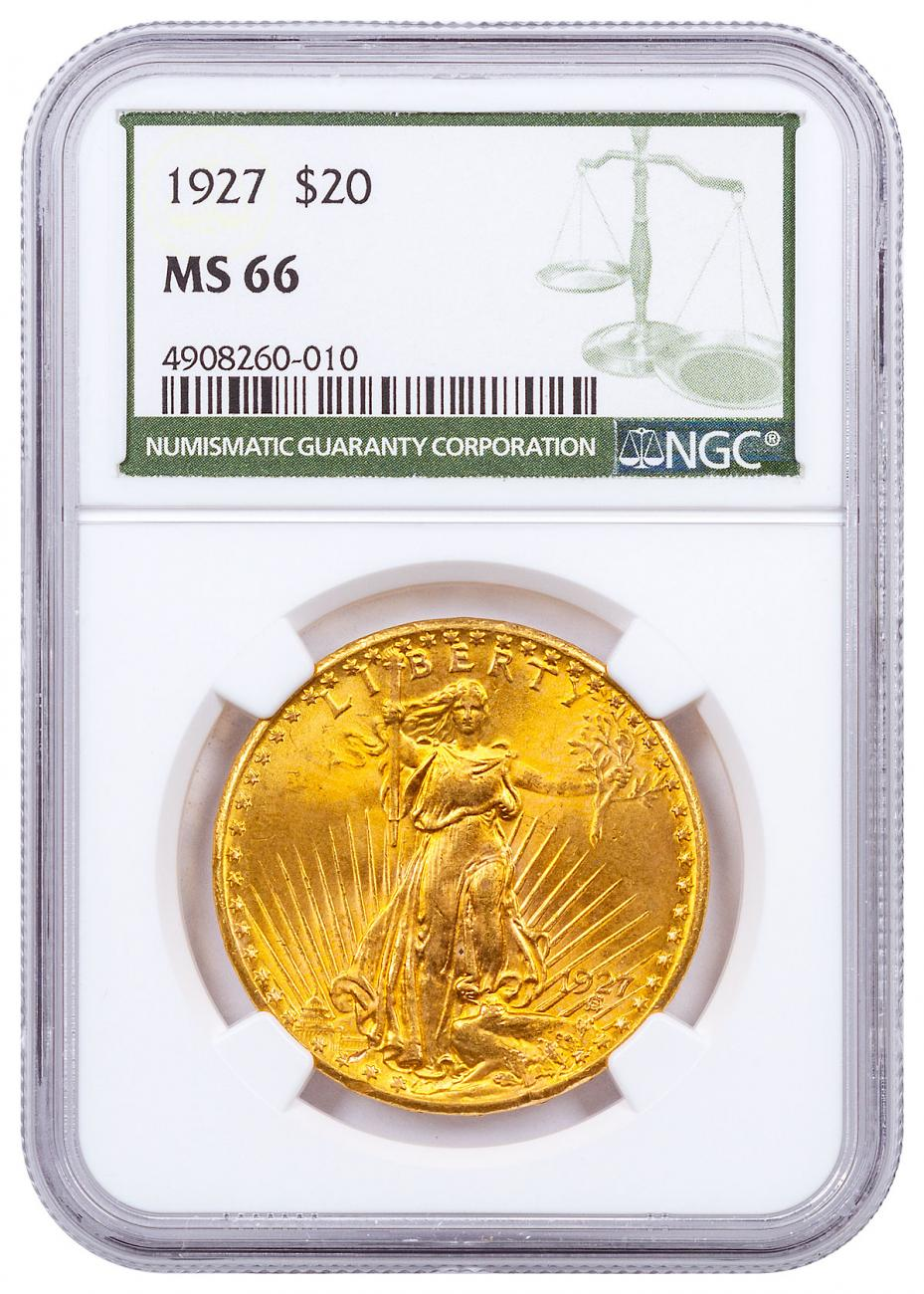 1927 Saint-Gaudens $20 Gold Double Eagle NGC MS66 Green Label