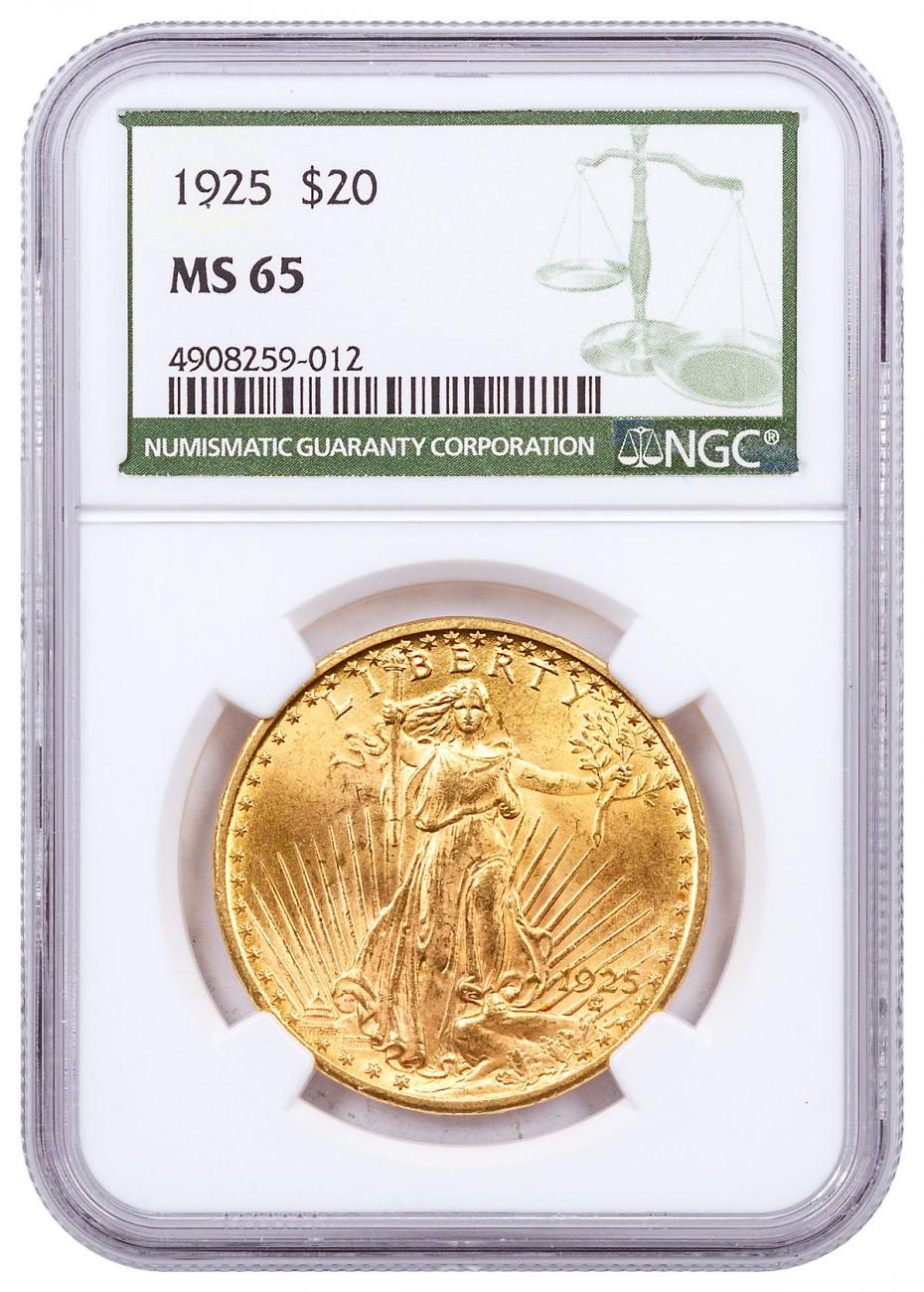 1925 Saint-Gaudens $20 Gold Double Eagles NGC MS65 Green Label