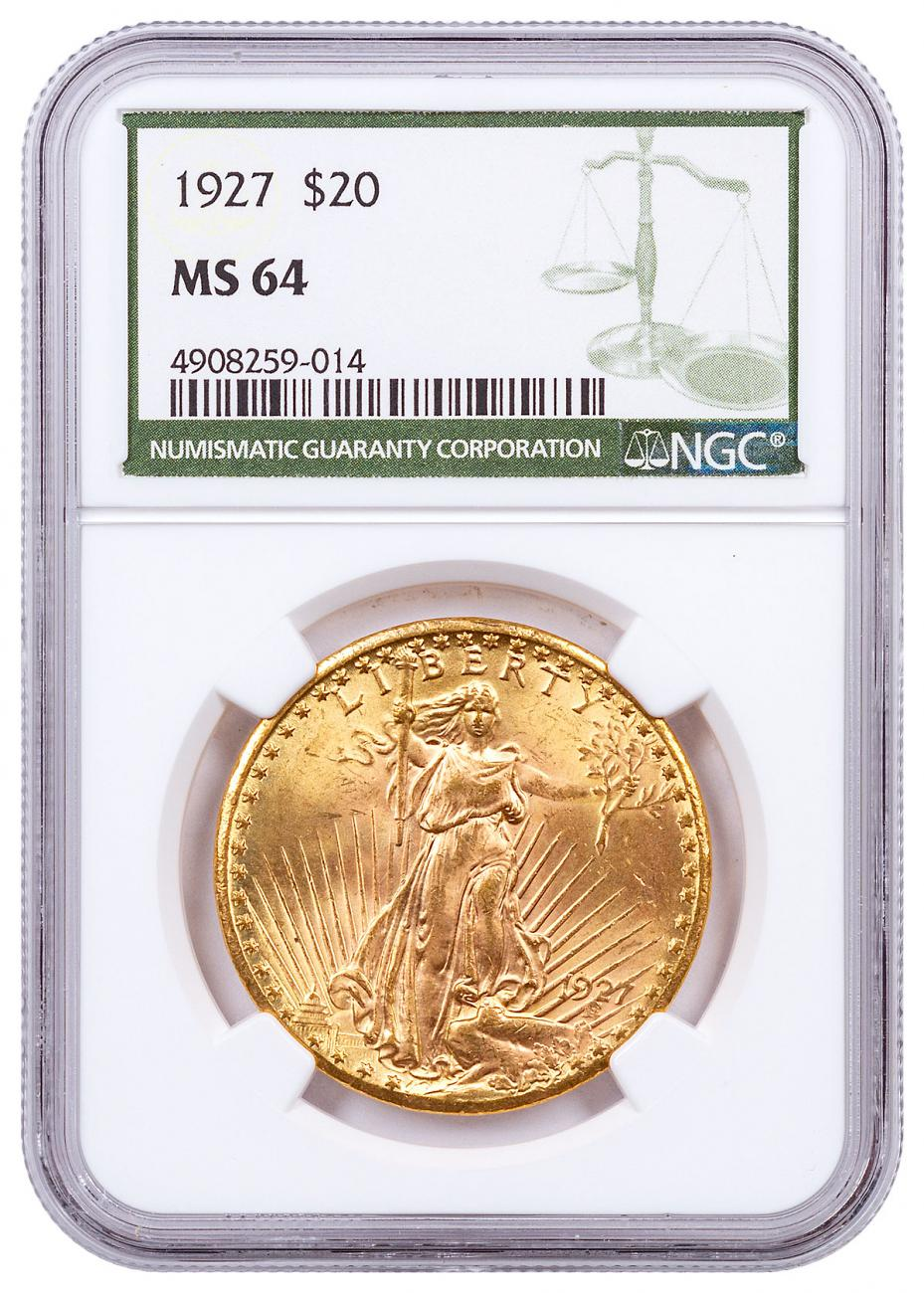 1927 Saint-Gaudens $20 Gold Double Eagle NGC MS64 Green Label