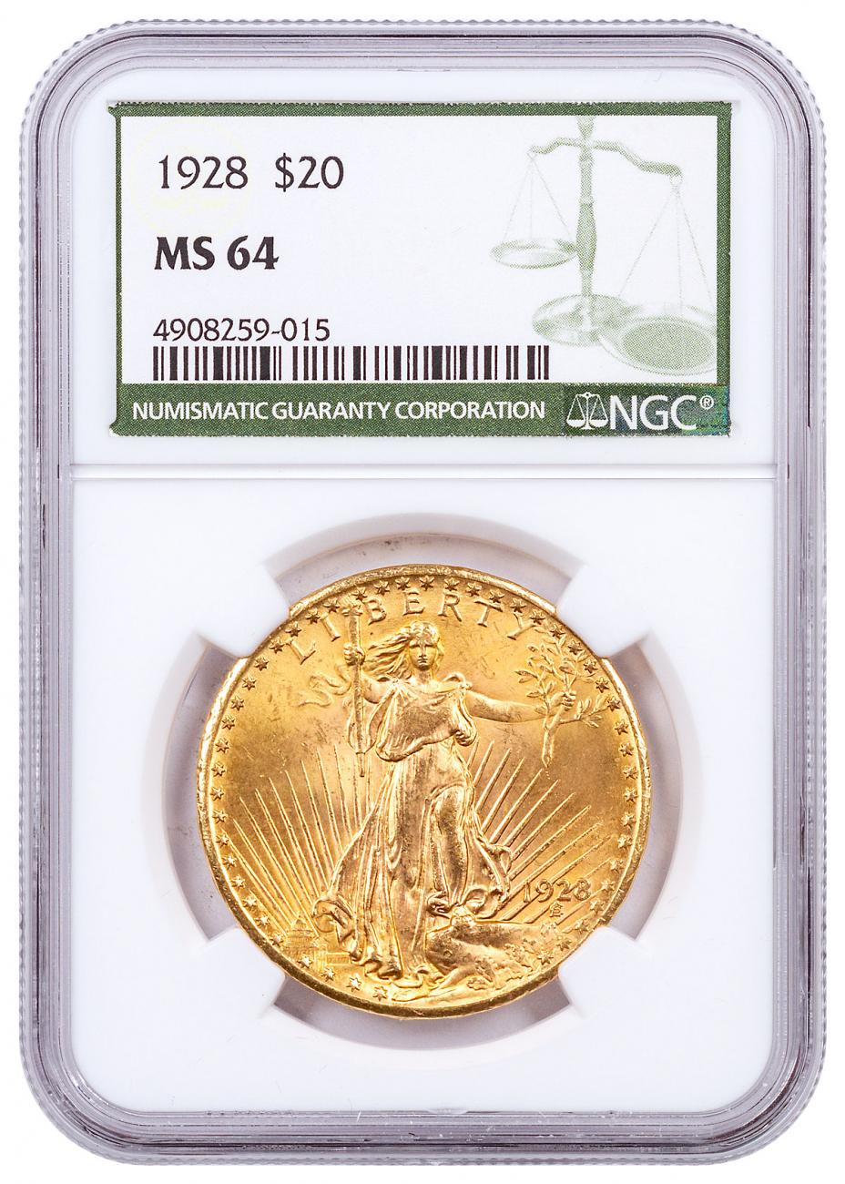 1928 Saint-Gaudens $20 Gold Double Eagle NGC MS64 Green Label