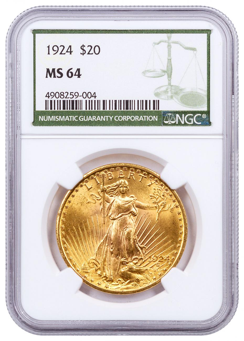 1924 Saint-Gaudens $20 Gold Double Eagle NGC MS64 Green Label