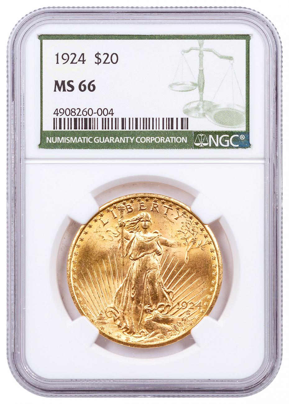 1924 Saint-Gaudens $20 Gold Double Eagle NGC MS66 Green Label