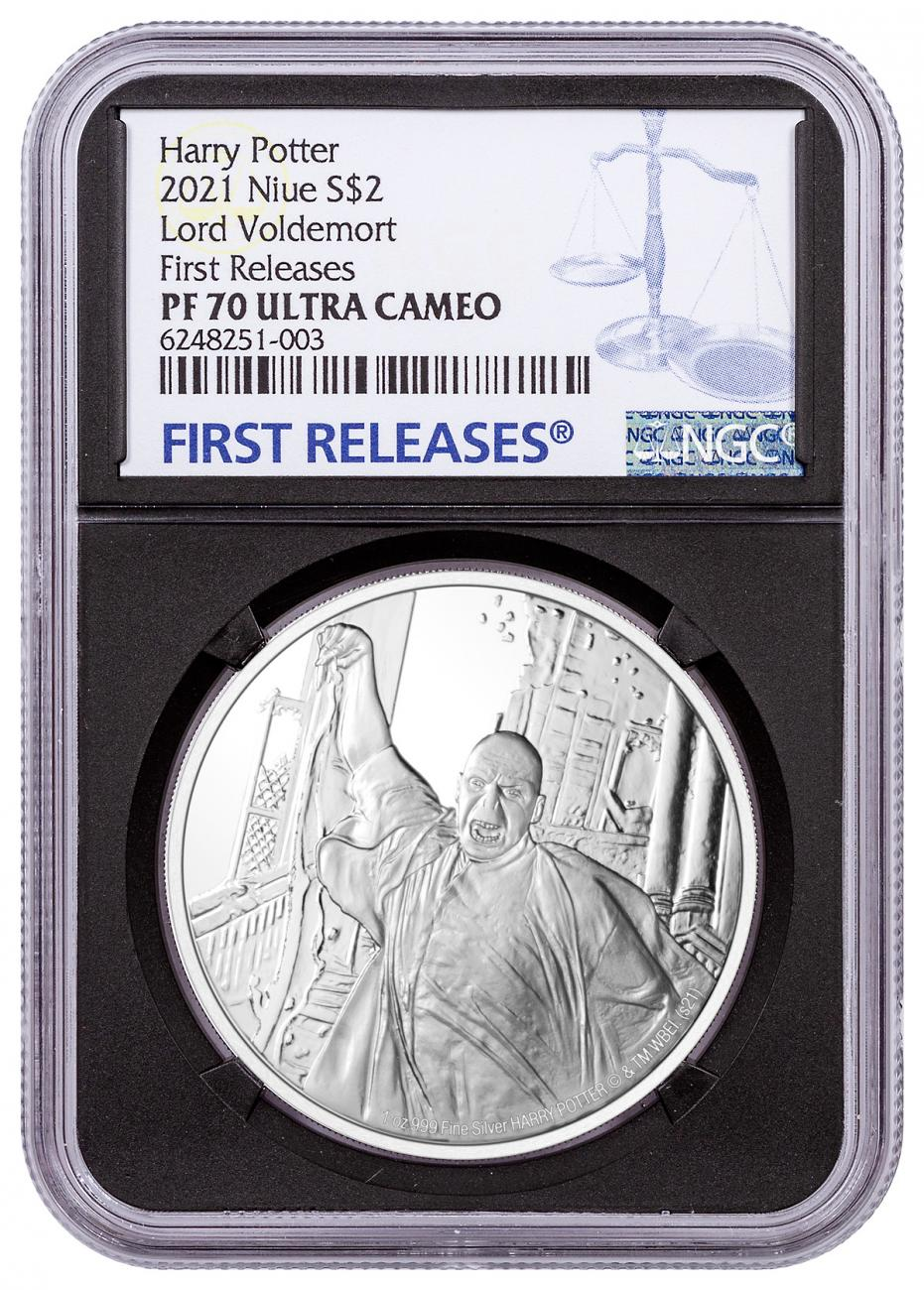2021 Niue Harry Potter - Lord Voldemort 1 oz Silver Proof $2 Coin NGC PF70 UC FR With Original Mint Box Black Core Holder