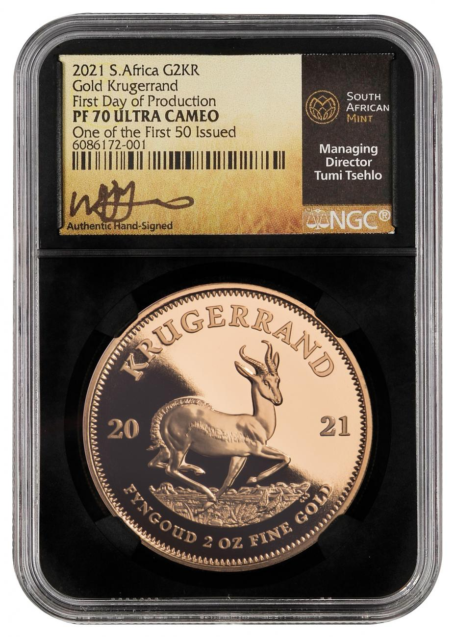 2021 South Africa 2 oz Gold Krugerrand Proof Coin Scarce and Unique Coin Division NGC PF70 UC FDP One of the First 50 Struck Tumi Signed Label