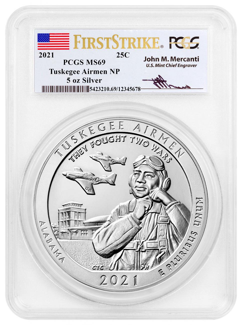 2021 Tuskegee Airmen National Historic Site 5 oz. Silver ATB America the Beautiful Coin PCGS MS69 FS Exclusive Mercanti Signed Label
