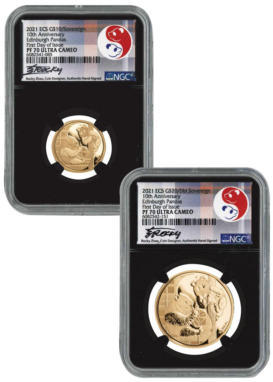 2-Piece Set - 2021 Sovereign/Dbl Sovereign Set Scarce and Unique Coin Division NGC PF70 UC FDI