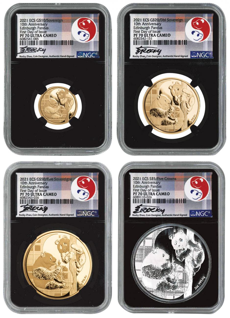 4-Piece Set - 2021 Gold Sovereign/Silver Pound Complete Set Scarce and Unique Coin Division NGC PF70 UC FDI
