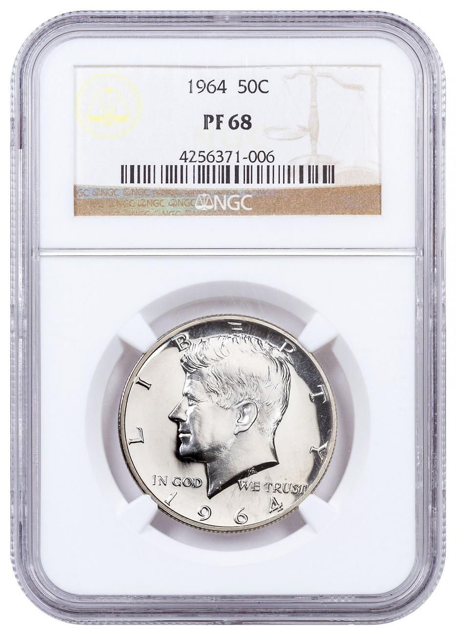 1964 Silver Kennedy Half Dollar Proof NGC PF68 Brown Label