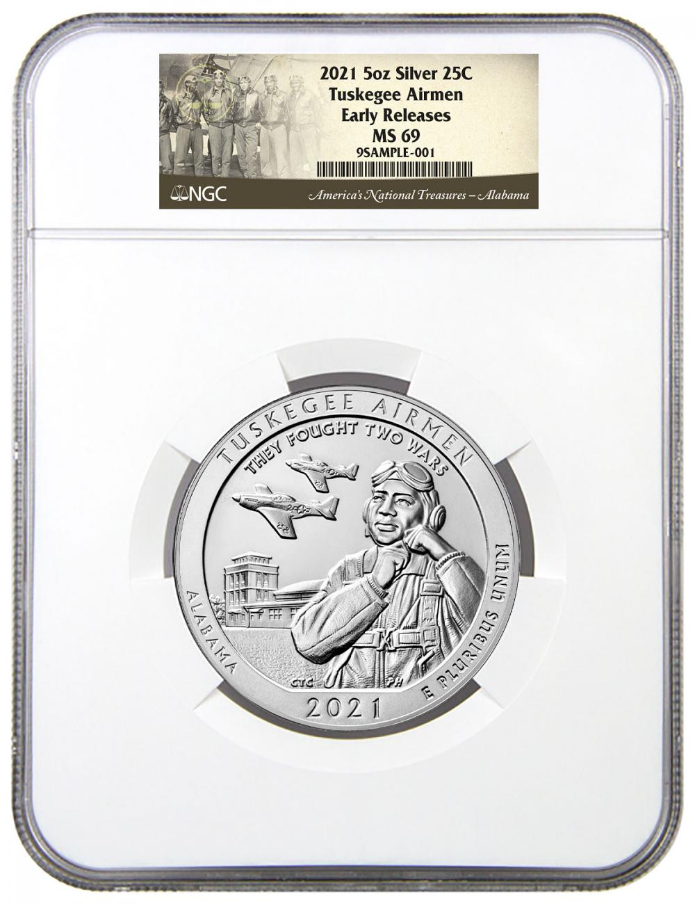 2021 Tuskegee Airmen National Historic Site 5 oz. Silver ATB America the Beautiful Coin NGC MS69 ER