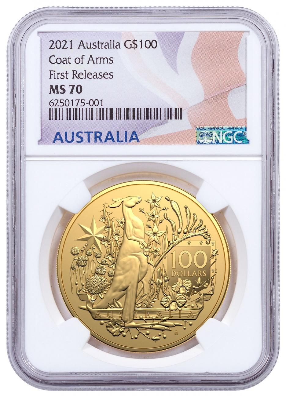 2021 Australia Coat of Arms 1 oz Gold $100 Coin NGC MS70 FR Flag Label