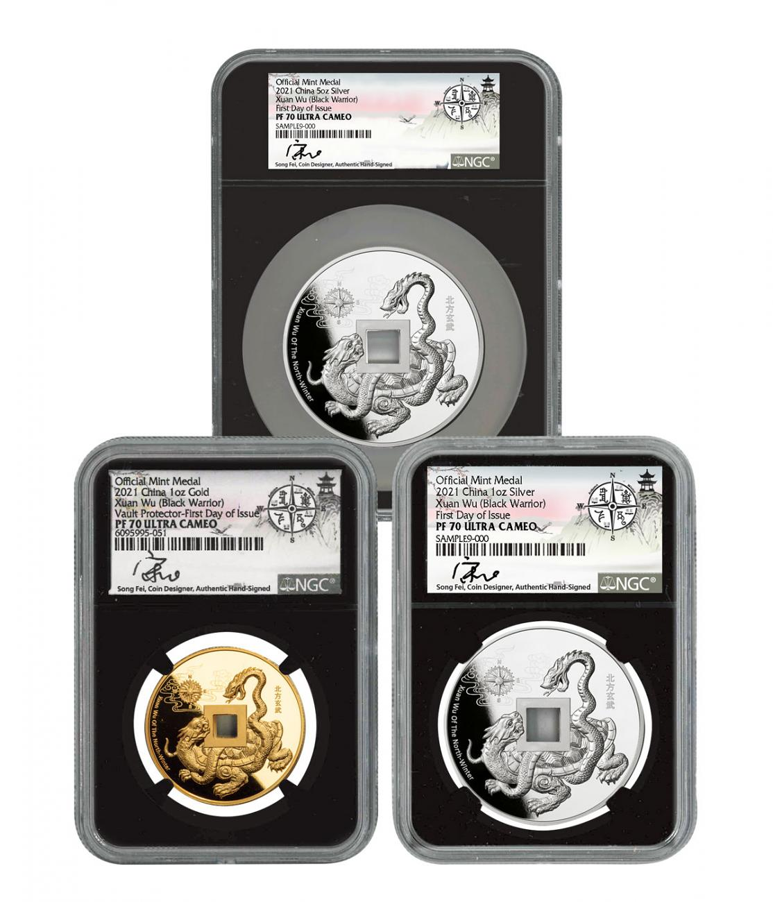 3-Piece Set - 2021 1oz Gold/Slv+ 5oz Silver Black Warrior Vault Protector Scarce and Unique Coin Division NGC PF70 UC FDI Song Fei Signature Label