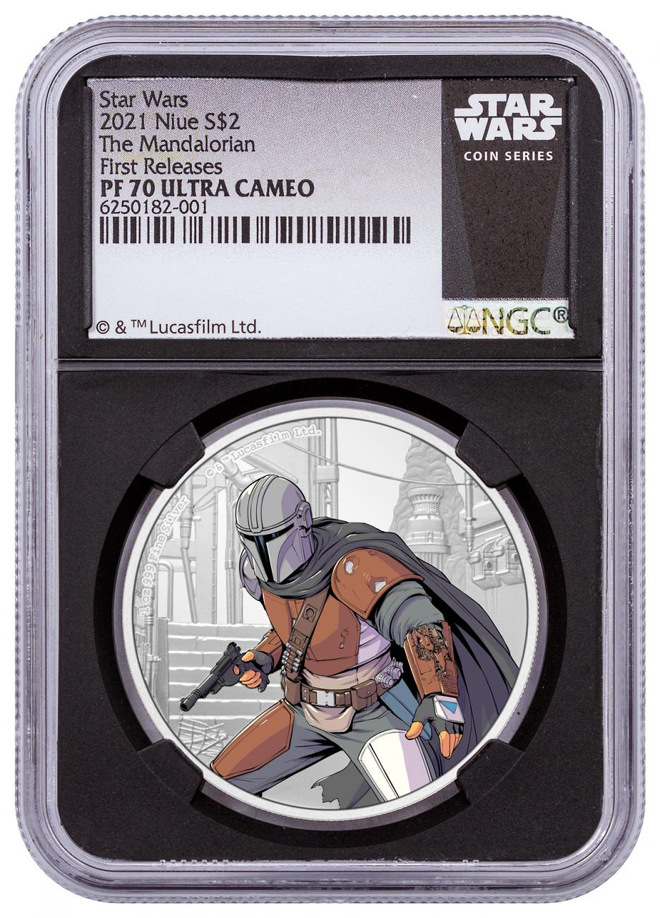 2021 Niue Star Wars - Mandalorian 1 oz Silver Colorized Proof $2 Coin NGC PF70 FR COA Black Core Holder Exclusive Star Wars Label