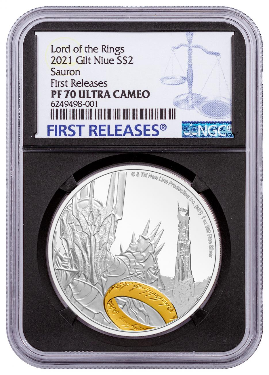 2021 Niue Lord of the Rings - Sauron 1 oz Silver Gilt Proof $2 Coin NGC PF70 FR COA Black Core Holder