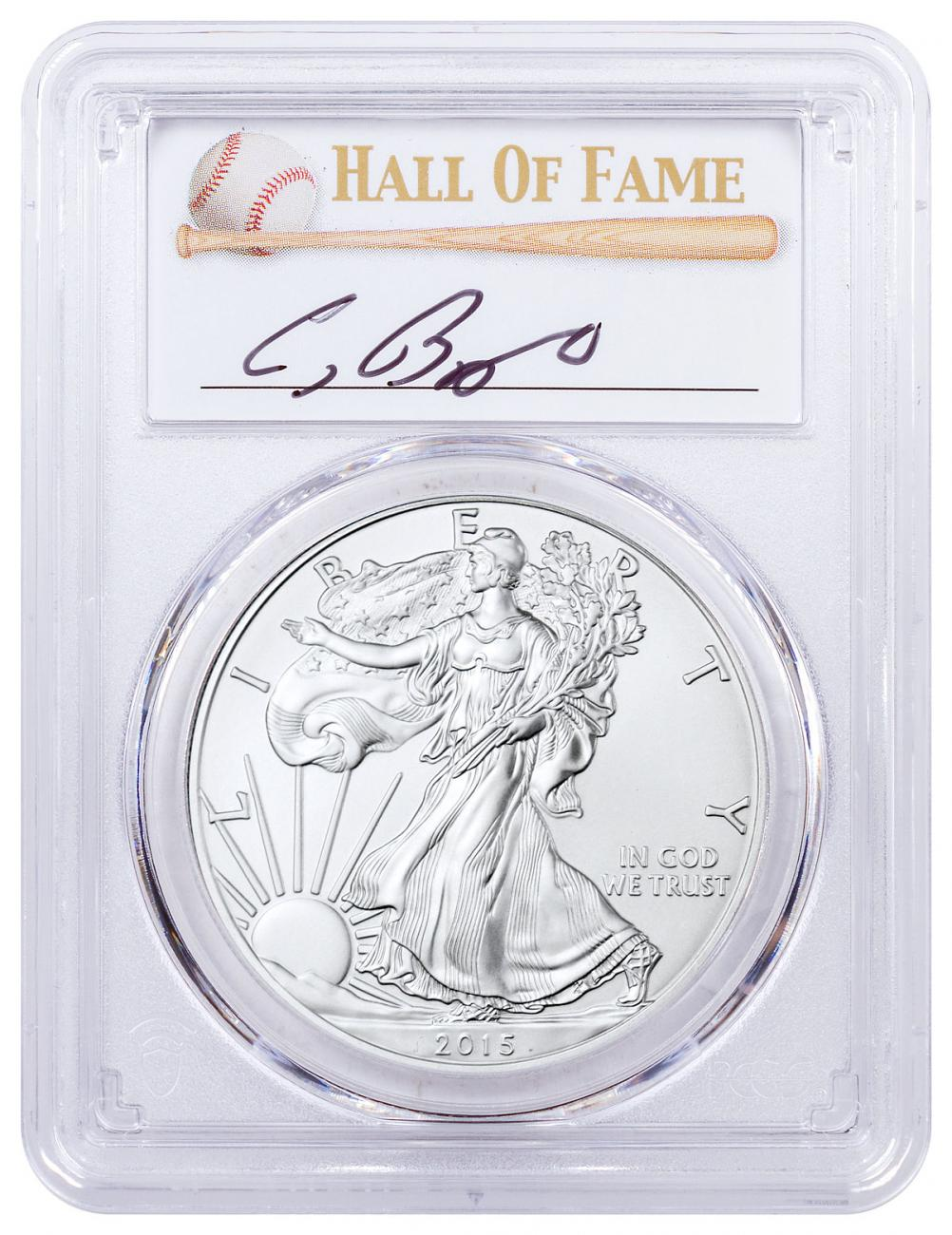 2015 American Silver Eagle PCGS MS69 Baseball HOF Craig Biggio Signed Label