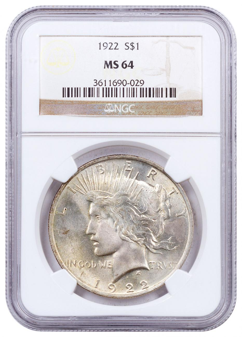 1922 Silver Peace Dollar NGC MS64 Brown Label