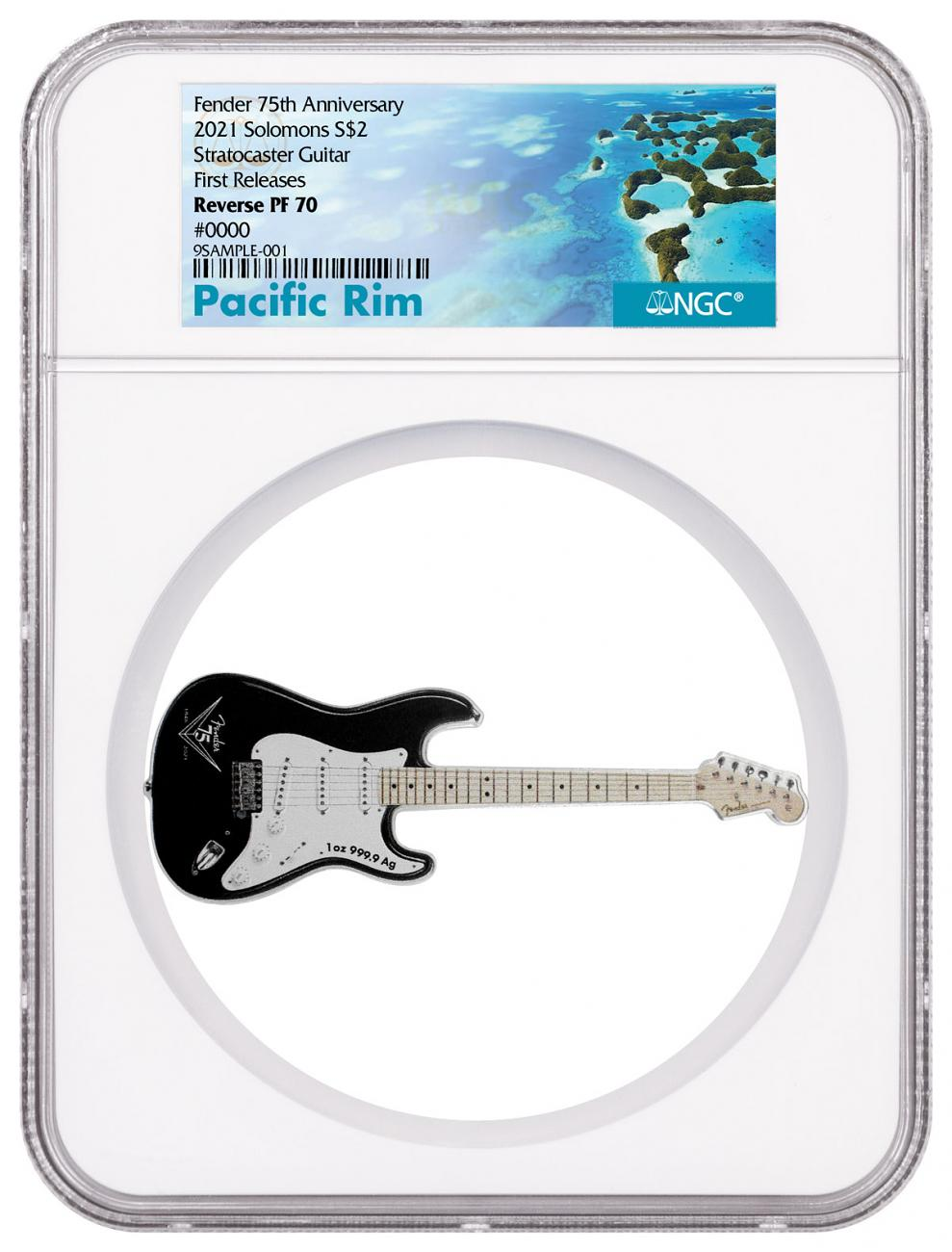 2021 Solomon Islands Fender - 75th Anniversary - Stratocaster Guitar Shaped 1 oz Silver Colorized Reverse Proof $2 Coin NGC PF70 FR Exclusive Pacific Rim Label
