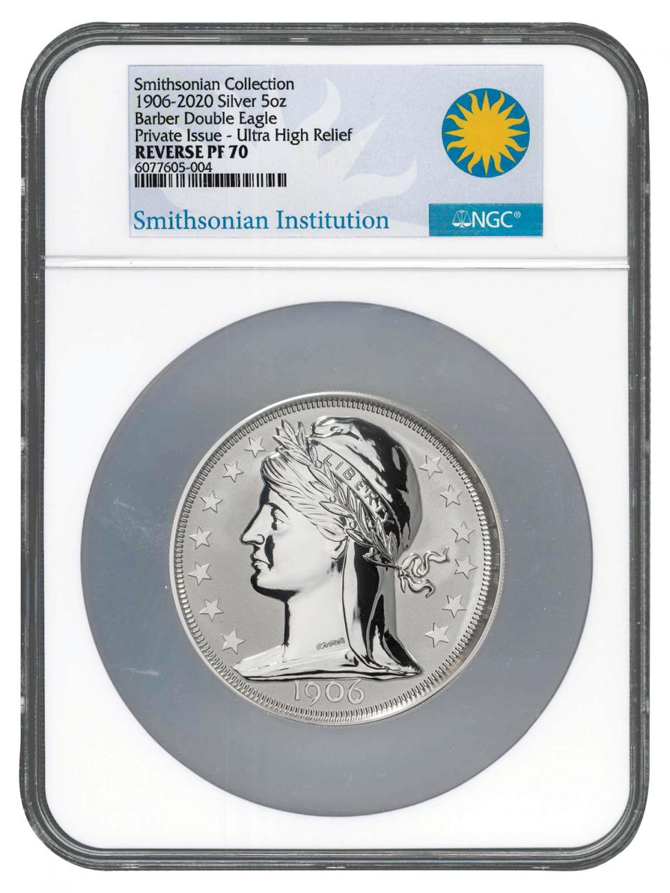 2020 Barber Double Eagle Ultra High Relief 5 oz Silver Reverse Proof Medal Scarce and Unique Coin Division NGC PF70 UC