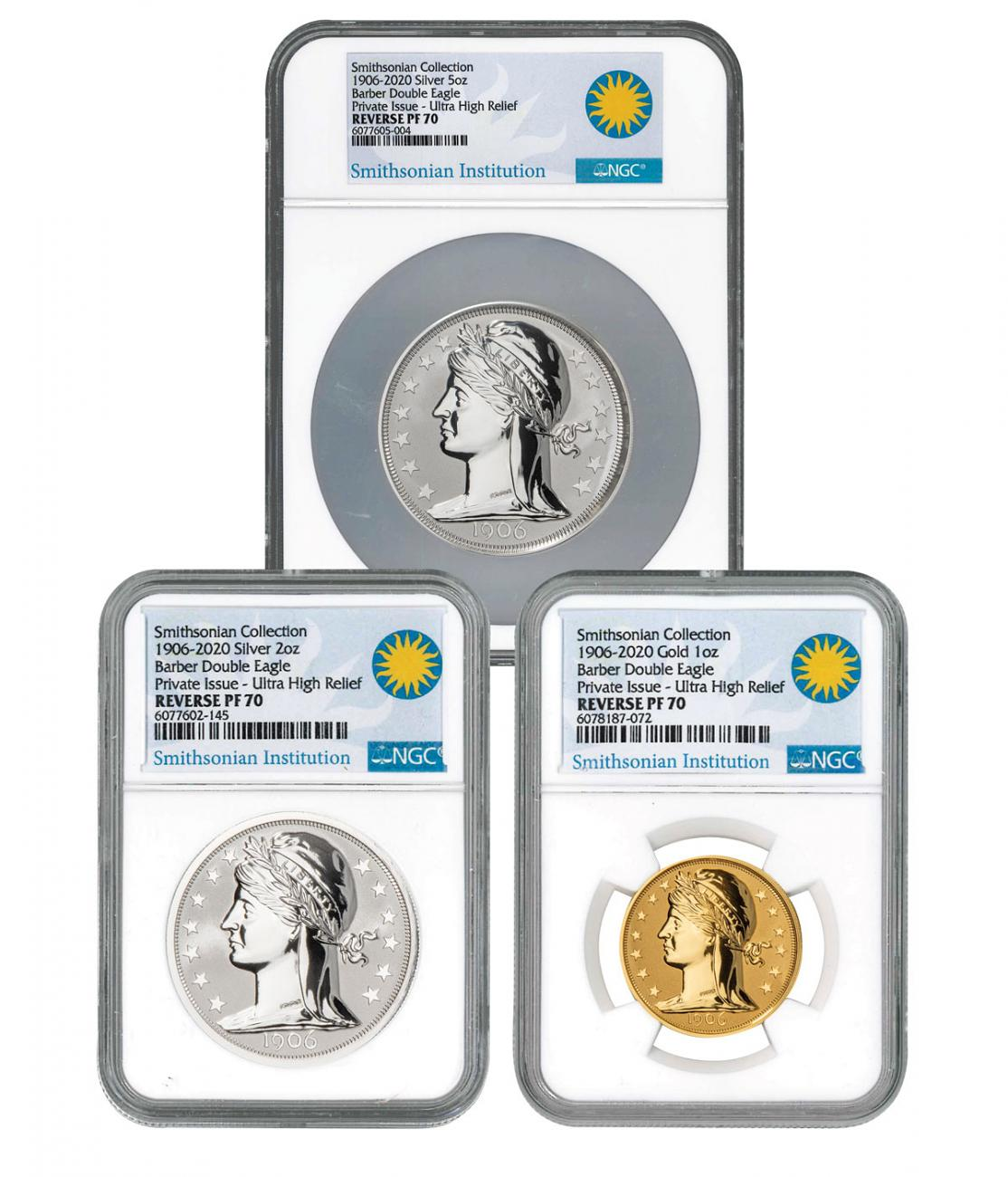 3-Piece Set - 2020 Silver/Gold Barber Double Eagle UHR Reverse Proof Scarce and Unique Coin Division NGC PF70 UC