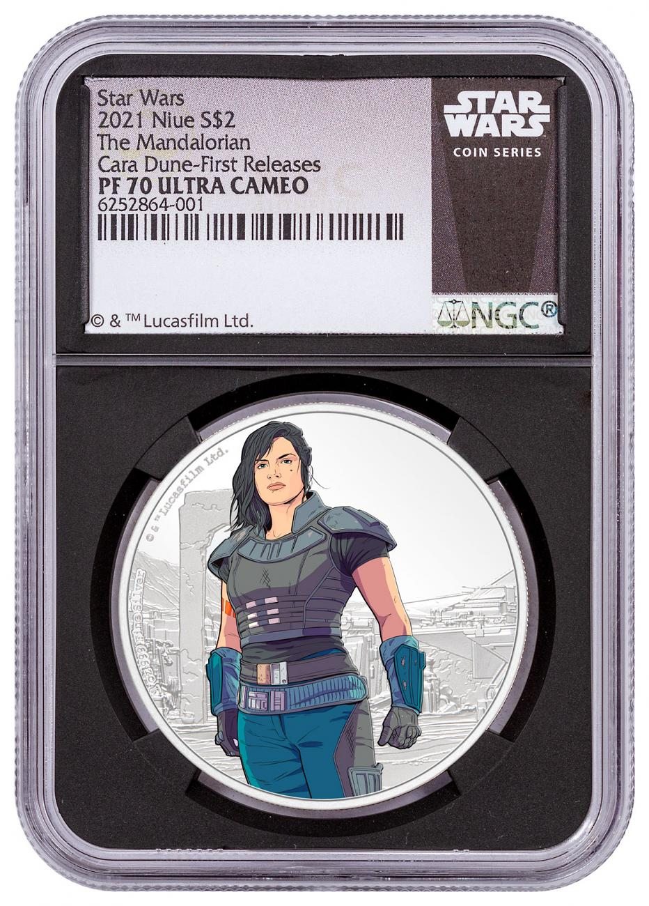 2021 Niue Star Wars Mandalorian - Cara Dune 1 oz Silver Colorized Proof $2 Coin NGC PF70 FR Black Core Holder Exclusive Star Wars Label