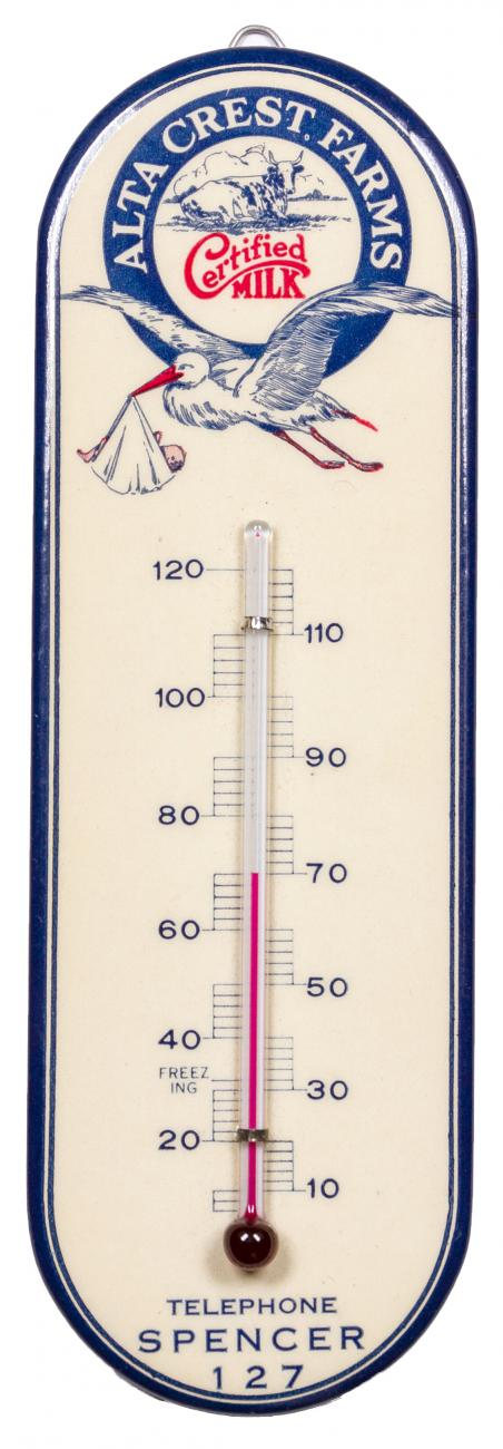 1920's Alta Crest Farms Certified Milk New Old Stock Thermometer w/ Original Box Excellent / New Old Stock