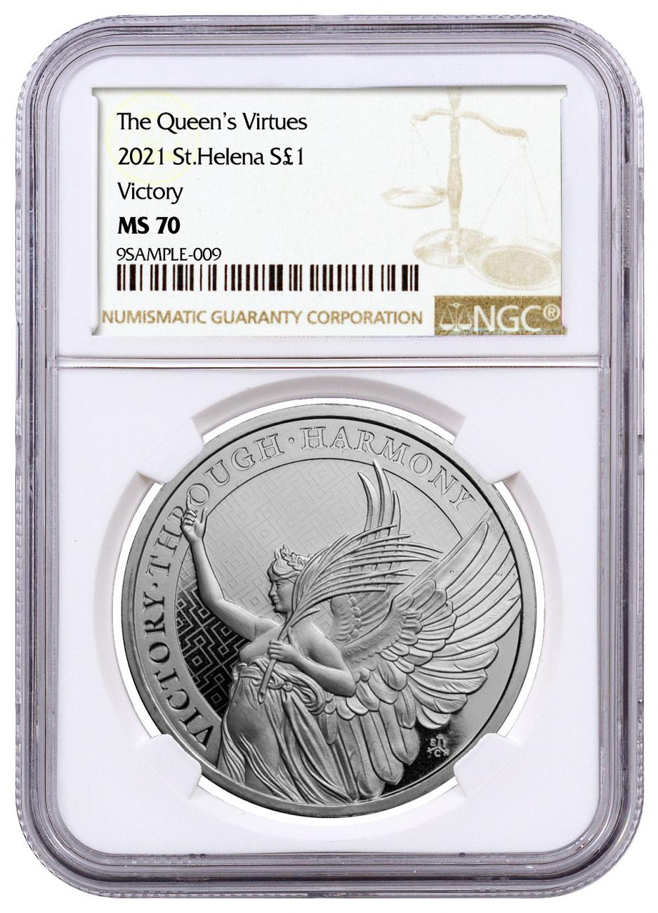 2021 Saint Helena 1 oz Silver Queen's Virtues - Victory £1 Coin NGC MS70