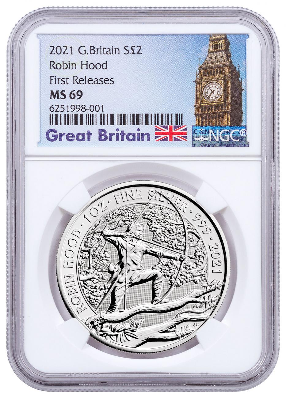 2021 Great Britain Myths & Legends - Robin Hood 1 oz Silver £2 Coin NGC MS69 FR Exclusive Big Ben Label