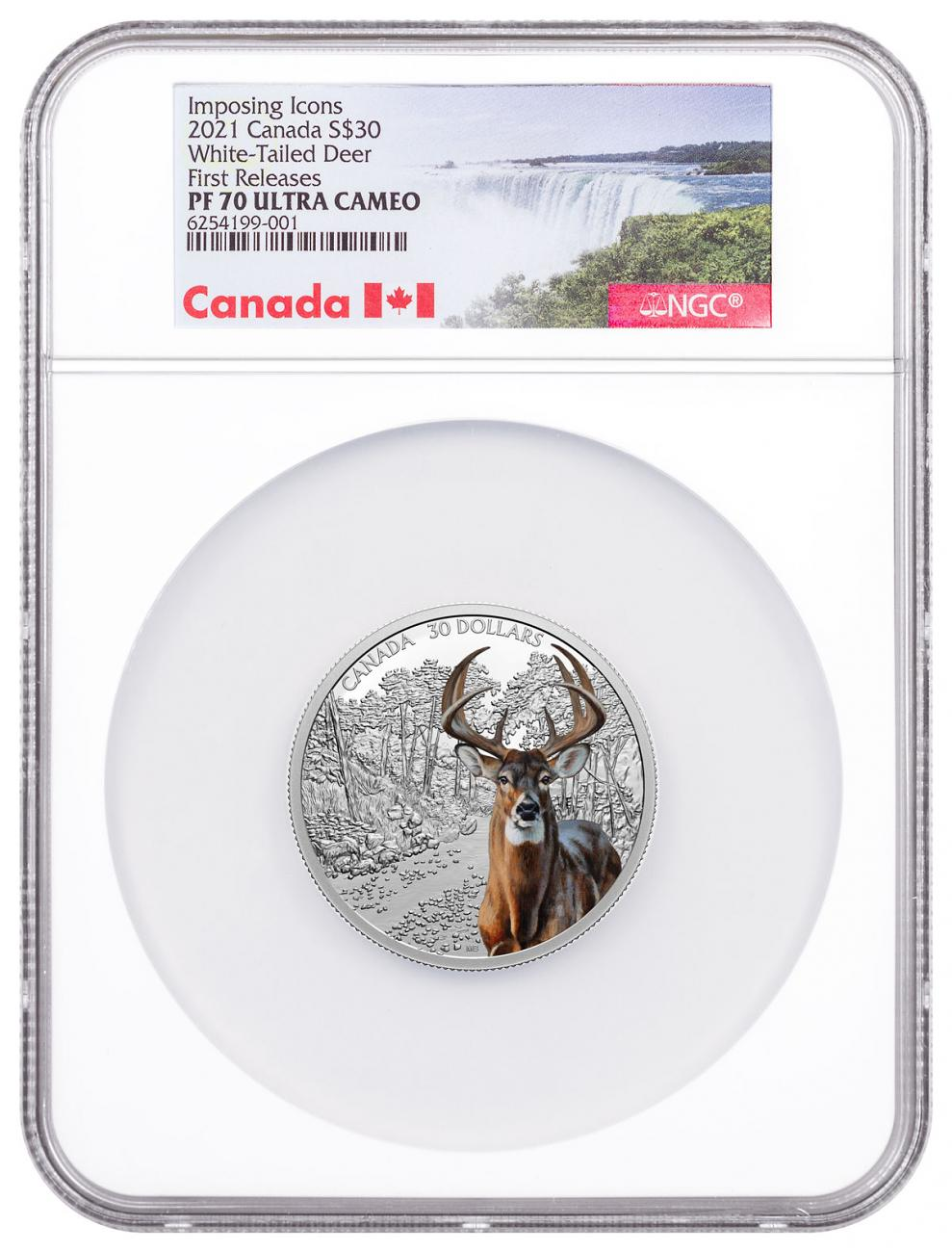 2021 Canada Imposing Icons - White Tailed Deer 2 oz Silver Colorized Proof $30 Coin NGC PF70 UC FR COA Exclusive Canada Label
