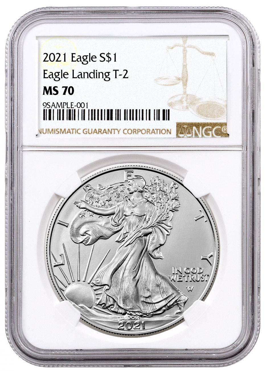 2021 American 1 oz Silver Eagle T-2 NGC MS70 Brown Label