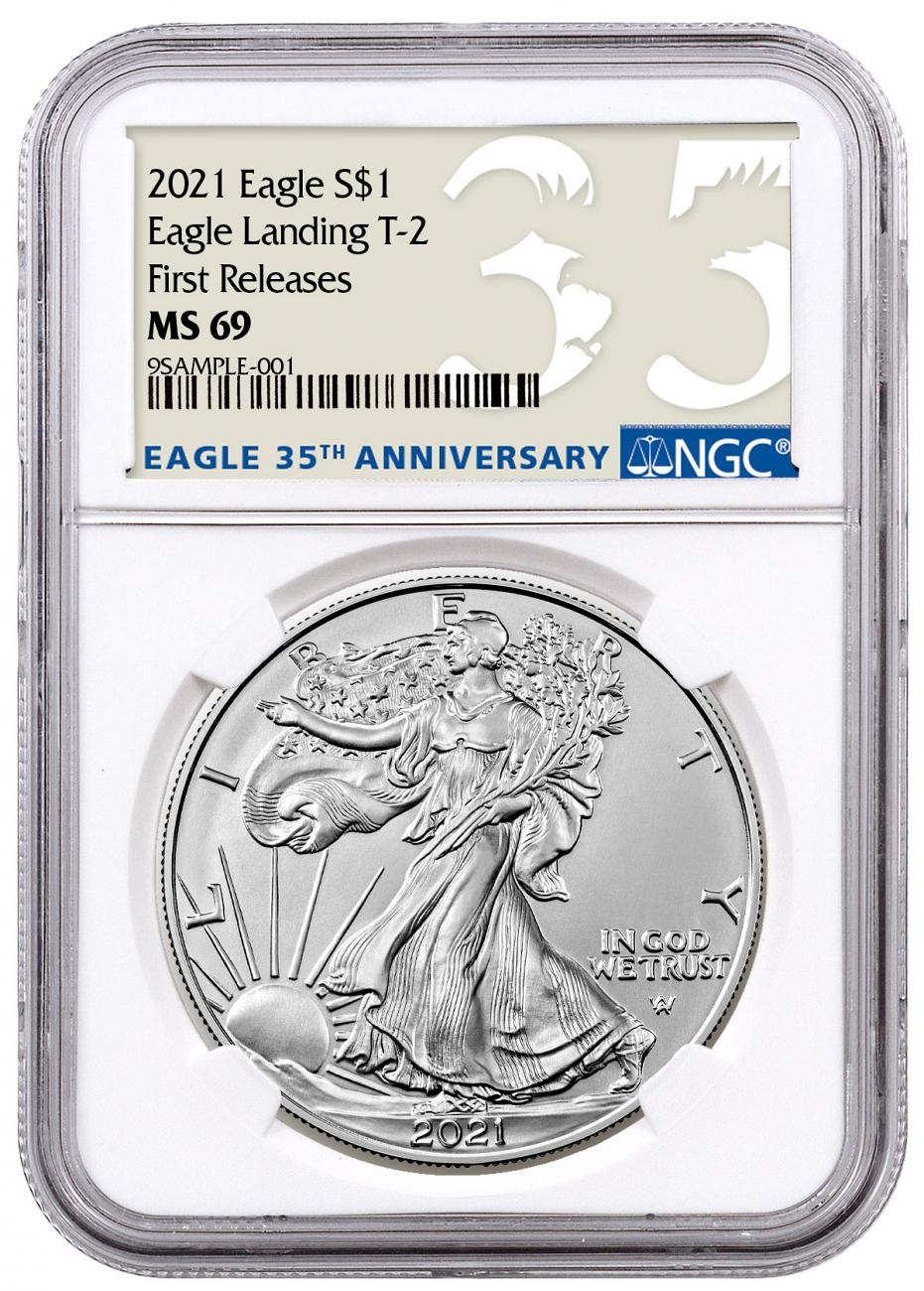 2021 American 1 oz Silver Eagle T-2 NGC MS69 FR 35th Anniversary Label