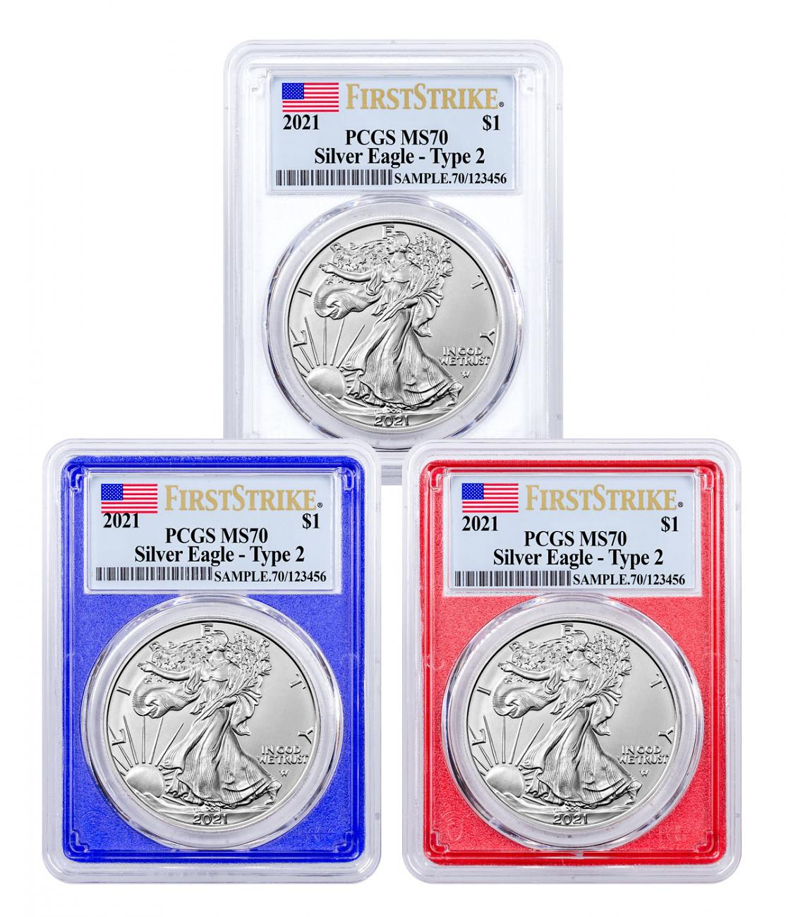 3-Piece Set - 2021 American Silver Eagle Type 2 PCGS MS70 FS Red, White & Blue Frames Flag Label