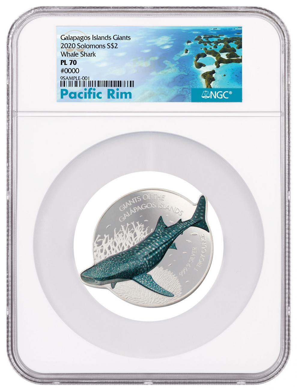 2021 Solomon Islands Giants of Galapagos - Whale Shark Shaped 1 oz Silver Proof Like $2 Coin NGC PL70 Exclusive Pacific Rim Label