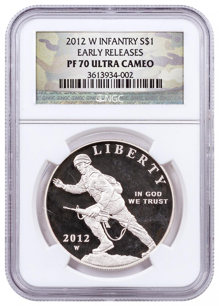 2012-W Infantry Soldier Commemorative Silver Dollar Proof NGC PF70 UC ER Camo Label